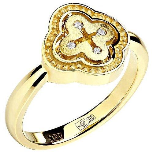 Эстет Кольцо с 4 бриллиантами из жёлтого золота 01К638747, размер 17.5