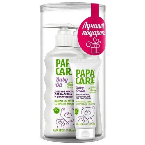 Купить Papa Care Подарочный набор: Крем-мыло для рук с антибактериальным эффектом (250 мл) + Детское масло для массажа и увлажнения кожи (150 мл) + Крем от опрелостей под подгузник (100 мл), Уход за кожей