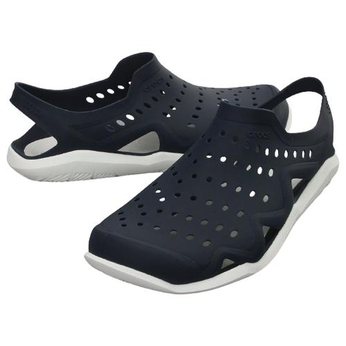 сабо женские crocs classic mammoth luxe цвет черный 204211 001 размер m7 w9 39 40 Сабо Crocs Swiftwater Wave, размер 40(M7), navy/white