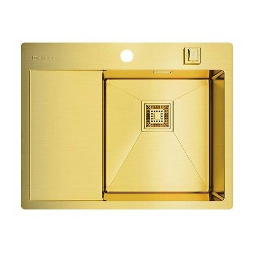 Фото - Врезная кухонная мойка 65 см OMOIKIRI Akisame 65-LG-R светлое золото врезная кухонная мойка 65 см omoikiri akisame 65 in r нержавеющая сталь