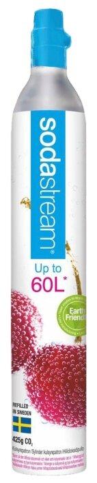Газовый баллон для сифона Sodastream CO2 на 60 л белый/голубой с рисунком