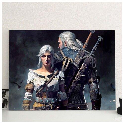Картина Ведьмак и Цири 40х60 см. синтетический холст