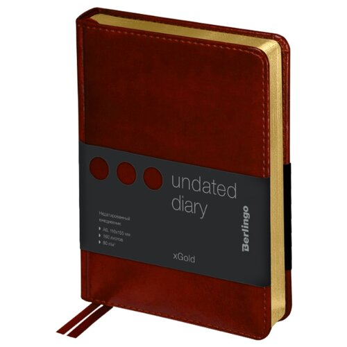 Купить Ежедневник Berlingo xGold недатированный, искусственная кожа, А6, 160 листов, коричневый, Ежедневники, записные книжки