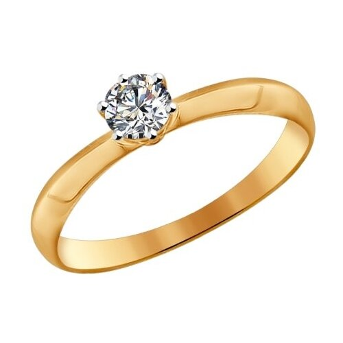 SOKOLOV Помолвочное кольцо из золота со Swarovski Zirconia 81010225, размер 16 фото
