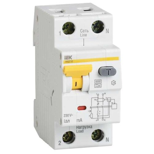 цена на Дифференциальный автомат IEK АВДТ 32 2П 10 мА B 25 А