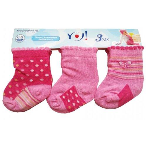 Носки Yo! комплект из 3 пар, размер 0-3 мес(6), розовый/малиновый