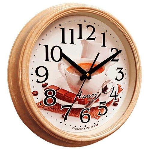 Часы настенные кварцевые Алмаз A53 бежевый/белый часы настенные кварцевые алмаз m52 бежевый белый