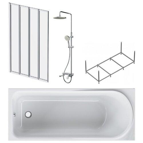Ванна комплект 4в1 Like W80ASET-170AC :ванна 170х70, каркас, душевая система, шторка на борт ванны