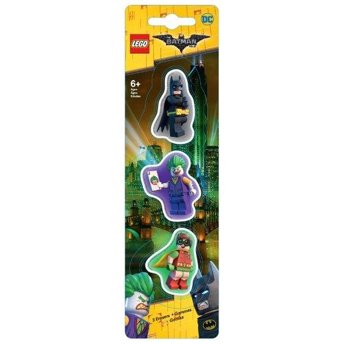 LEGO Набор ластиков Batman movie (Batman/Robin/The Joker) 3 шт. черный/фиолетовый/зеленый