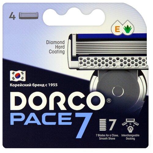 Сменные кассеты Dorco PACE7 (4 кассеты), 7-лезвийные, увл.полоса, крепление PACE