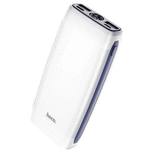 Аккумулятор внешний HOCO J64 Tough, 10000 mAh, 2 USB выхода, Type-C, фонарик, индикатор, цвет белый