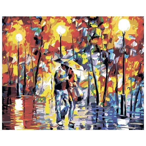 Купить Картина по номерам Живопись по Номерам Пара под зонтом , 40x50 см, Живопись по номерам, Картины по номерам и контурам