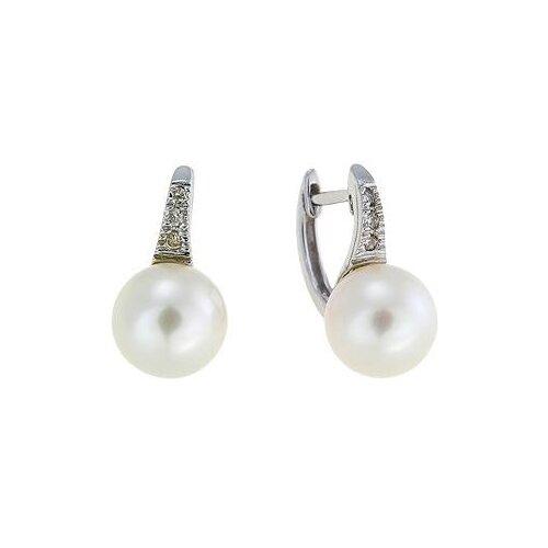 ЛУКАС Серьги с жемчугом и бриллиантами из белого золота E01-D-BS-0154-PR 0 pr на 100