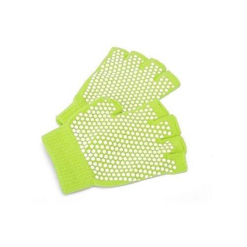 Перчатки противоскользящие для занятий йогой, цвет: салатовый перчатки рабочие противоскользящие brigadier extrema