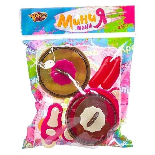 Купить Набор продуктов с посудой Yako Мини Мания Д93780 (М7628) разноцветный, Игрушечная еда и посуда