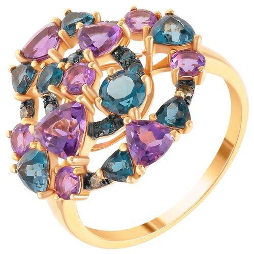 Фото - JV Кольцо из розового золота 585 пробы с топазами лондон, бриллиантами и аметистами R28288-DL-DN-AM-LT-PINK, размер 17.75 dl 0617 pink