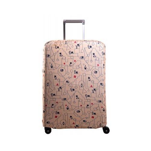 Чехол для чемодана ROUTEMARK «Коты и порядок» ART.LEBEDEV SP310 M/L, бежевый