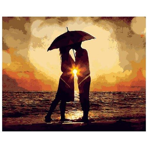 Купить Картина по номерам Цветной (Premium) Поцелуй под зонтом , 40x50 см, Картины по номерам и контурам