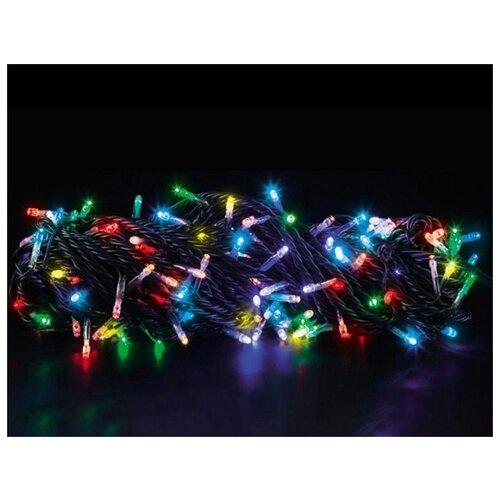 Светодиодная гирлянда РАДУЖНЫЕ БЛИКИ , 200 RGB LED-огней, 20+1.5 м, коннектор, зеленый провод, уличная, Торг-Хаус