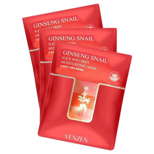 Купить Venzen Ginseng Snail Slick and Silky Moisturizing Mask Увлажняющая тканевая маска с экстрактом женьшеня и муцином улитки, 30 г, 3 шт.