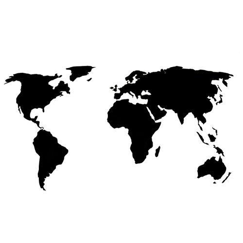 Физическая (общегеографическая) AFI DESIGN Деревянная карта мира, черная (80х40 см) 80х40 см