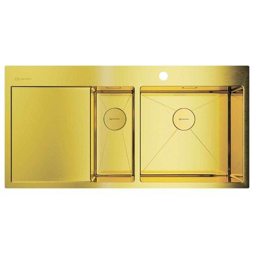 Фото - Врезная кухонная мойка 100 см OMOIKIRI Akisame 100-2-LG-R светлое золото врезная кухонная мойка 46 см omoikiri akisame 46 lg 4973081 светлое золото