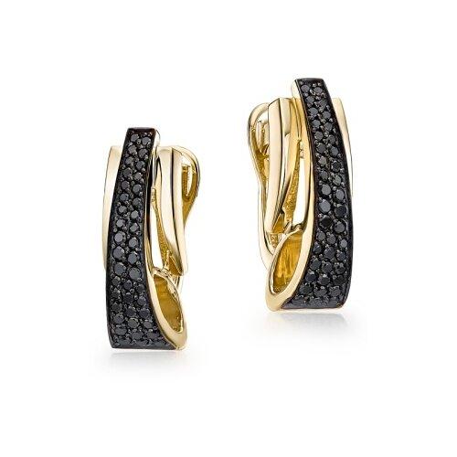 Мастер Бриллиант Золотые серьги с черным бриллиантом 2-107-054