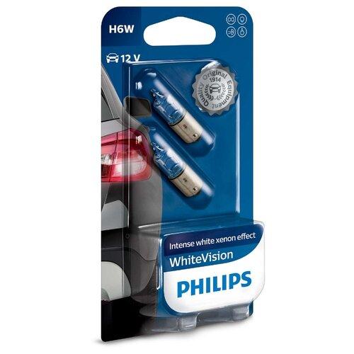 Лампа автомобильная галогенная Philips WhiteVision 12036WHVB2 H6W 6W 2 шт.