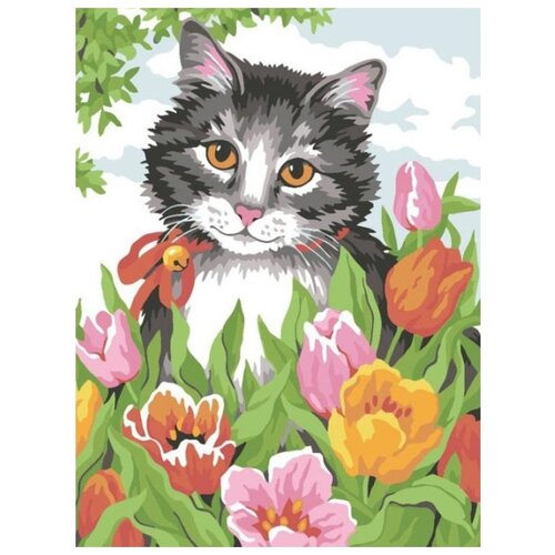 картина по номерам color kit натюрморт с подсолнухами 30x40 см Картина по номерам Color Kit Кошечка в тюльпанах, 30x40 см