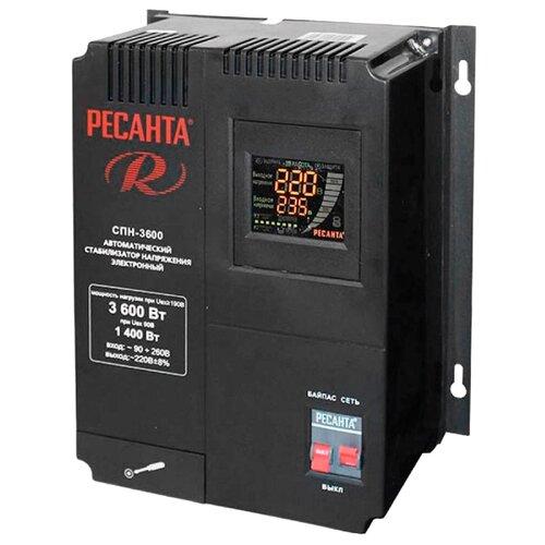 Стабилизатор напряжения однофазный РЕСАНТА СПН-3600 (3.6 кВт) черный стабилизатор напряжения однофазный solaris vsa 500 0 3 квт черный