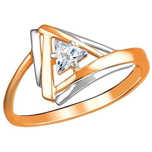 Эстет Кольцо с 1 кристаллом swarovski из красного золота 01К1112986Р, размер 17 ЭСТЕТ