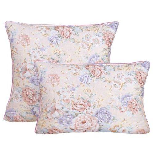 Подушка с наполнителем из пуха и пера Fluffy relax, цветы, бежевый ; Размер: 50 х 70