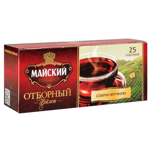 Чай черный Майский Отборный в пакетиках, 25 шт. майский чайная матрешка синяя черный листовой чай 30 г