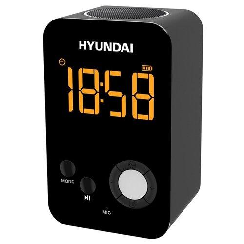 Радиобудильник Hyundai H-RCL300 черный LCD подсв:оранжевая часы:цифровые FM