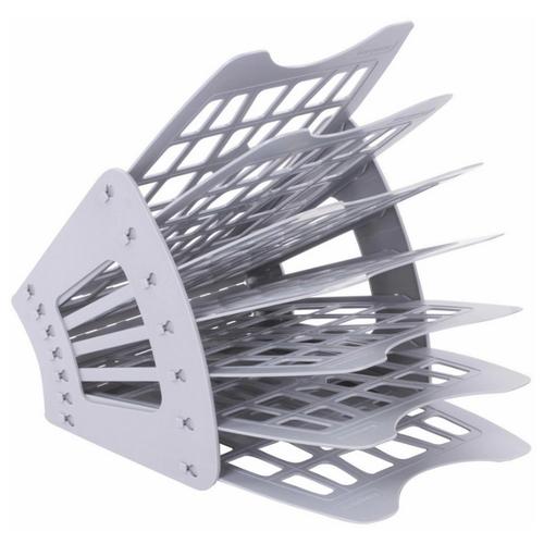 Купить Лоток веерный для бумаги BRAUBERG Smart 231143/231144/230467 (6 отд.) серый, Лотки для бумаги