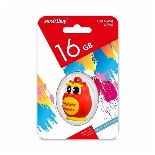 Фото - Флешка SmartBuy Wild Series Owl 16 GB, 1 шт., оранжевый/желтый ufd smartbuy 16gb wild series бык sb16gbbullw