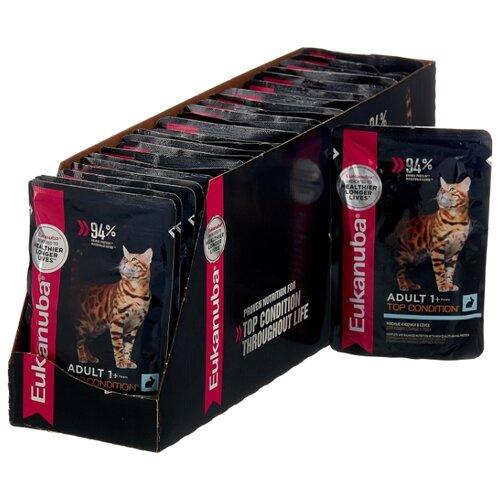 Влажный корм для стерилизованных кошек Eukanuba Top Condition, для здоровья кожи и шерсти, с кроликом 24шт. х 85 г (кусочки в соусе) eukanuba влажный корм eukanuba adult dog для взрослых собак с кусочками курицы в соусе в паучах 100 г