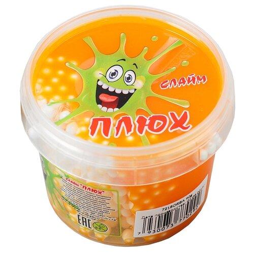 Лизун Плюх с шариками в тубе оранжевый