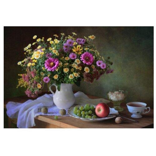 Купить Рыжий кот Картина по номерам Красивые цветы на столе 30х40 см (Х-3749), Картины по номерам и контурам