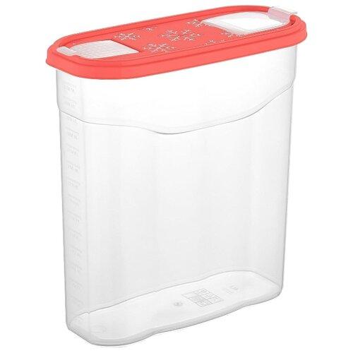 Plast Team Банка для сыпучих продуктов 4л. PT1023КОРАЛ-10 прозрачный/коралловый