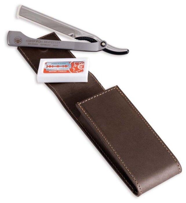 Дорожный бритвенный набор Dovo Solingen 577 056 из 3 предметов в чехле из натуральной кожи, цвет серебристый, чехол коричневый, Dovo Solingen (Merkur)