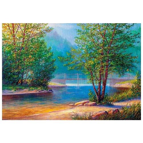 Купить Алмазная вышивка Цветной Утро на берегу реки , 65x50
