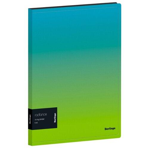 Купить Berlingo Папка на 4-х кольцах Radiance А4, 24 мм, 600 мкм, пластик голубой/зеленый, Файлы и папки