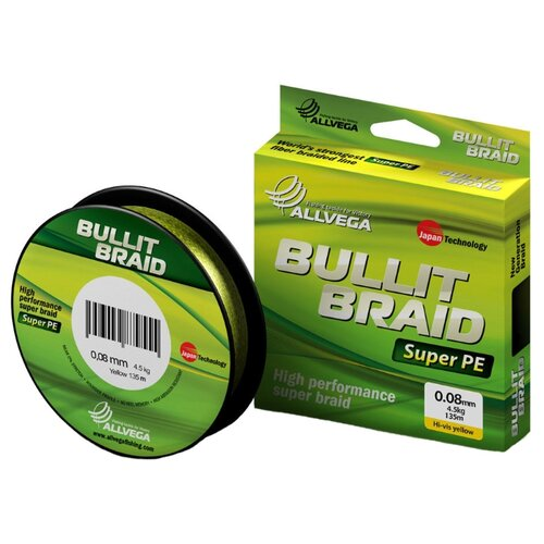 Фото - Плетеный шнур ALLVEGA BULLIT BRAID hi-vis yellow 0.08 мм 135 м 4.5 кг плетеный шнур allvega bullit braid dark green 0 24 мм 135 м 16 5 кг