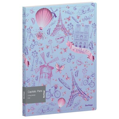 Купить Berlingo Папка на 4-х кольцах Capitals. Paris А4, 24 мм, 600 мкм, пластик голубой/розовый, Файлы и папки