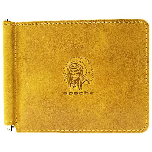 Фото - Зажим для денег из натуральной кожи Apache ОК-А табачно-желтый портмоне кожаное для документов и денег вп а табачно желтое apache