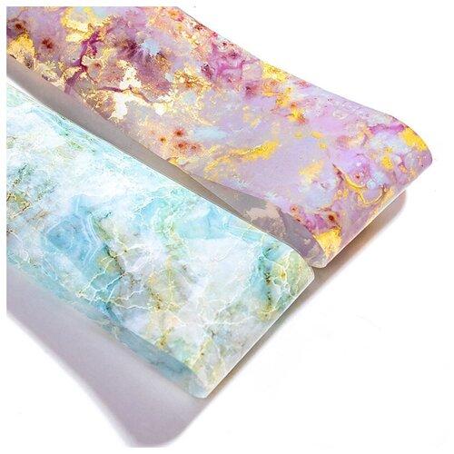 Купить Фольга De.Lux переводная Мраморная 20 г розовый мрамор/голубой мрамор