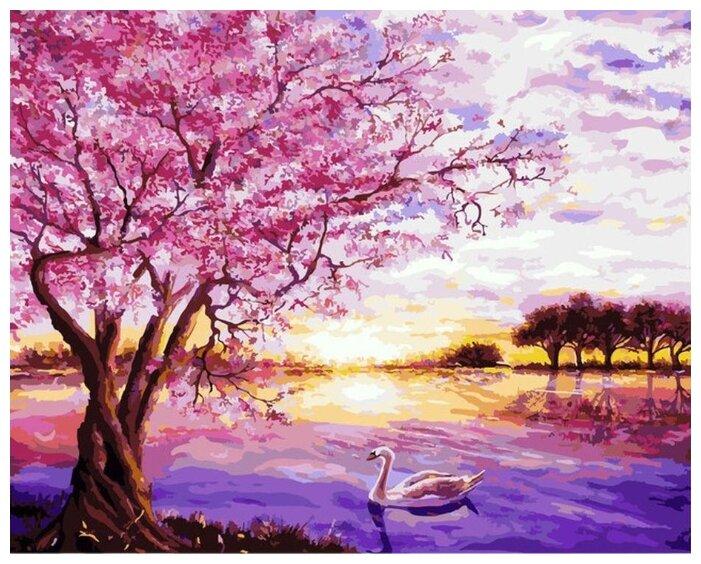 """Купить Картина по номерам Цветной """"Сакура и лебедь"""", 30x40 см по низкой цене с доставкой из Яндекс.Маркета"""