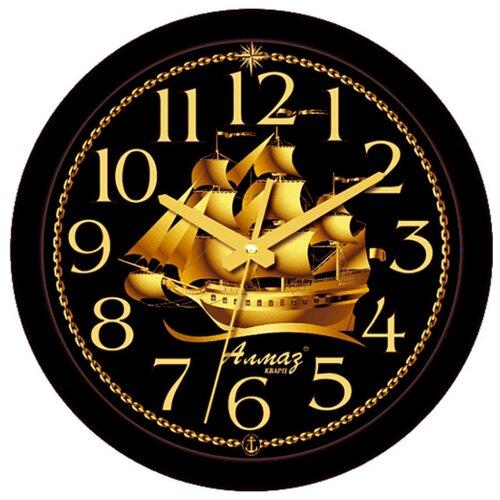 Часы настенные кварцевые Алмаз E20 черный/золотой часы fortuna fl019 42 25 черный золотой