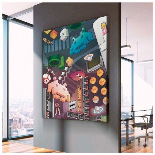 Картина Ретро Денди Пиксель Арт 60х80 см. синтетический холст